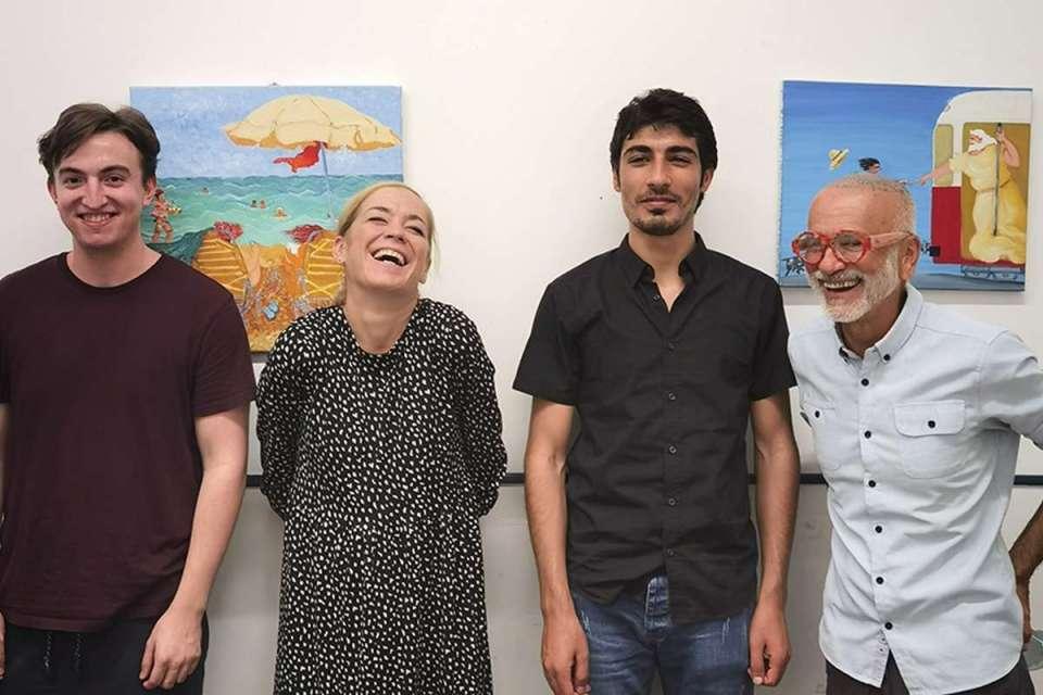 Nikolai (ePSA-Teilnehmer), Susanne Eckl (ePSA-Trainerin), Anwar (ePSA-Teilnehmer) und Antonio Zapata (LAI-Spanischtrainer) (v.l.n.r.).